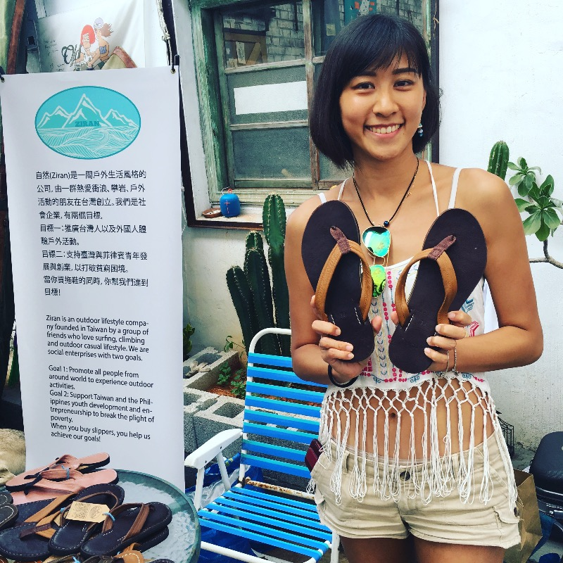 Ingrid is stoked on her new pair of handmade sandals. Helping people in poverty one pair at at a time. Ingrid 很開心新的拖鞋。她幫貧苦人給比較工作買一雙。 謝謝你。